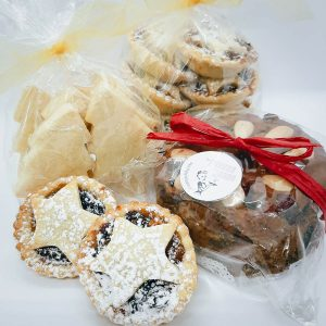 Small Christmas Hamper - 1x small Christmas Fruit Cake (350g), 6x Fruit Mince Tarts, 6x Traditional Christmas Shortbread $23, The Joyous Baker