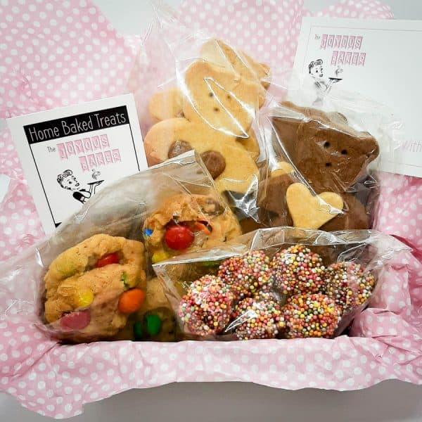 Kids Gift Box - 6x M&M Choc chip cookies, 4x Honey Bears, 6x Sprinkle Wands $16