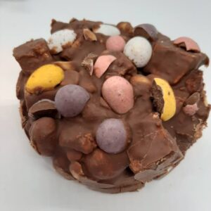 Easter Fudge 100g $6 Smooth, creamy chocolate fudge decorated with solid mini Easter eggs